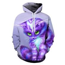 Foreign trade new cute cats personality cat creation art cat 3D kawaii print hoodies pullover thin parent-child Sweatshirt coats