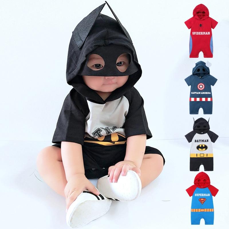 New Fashion Newborn Jumpsuit Summer Short-sleeved Cartoon Romper Baby Boy Girl Superhero Costume Hooded Toddler Romper 1-2 Years