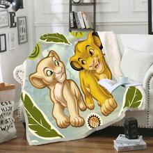 Dzieci lew w stylu kreskówki król Simba Nala 3D koc polar nadruk kreskówkowy dzieci ciepłe łóżko rzut koc noworodka bayby koc tanie tanio Disney CN (pochodzenie) 100 Polyester Portable Cartoon Wiosna jesień Coral Fleece Fabric Jakość W2020071602 Printed