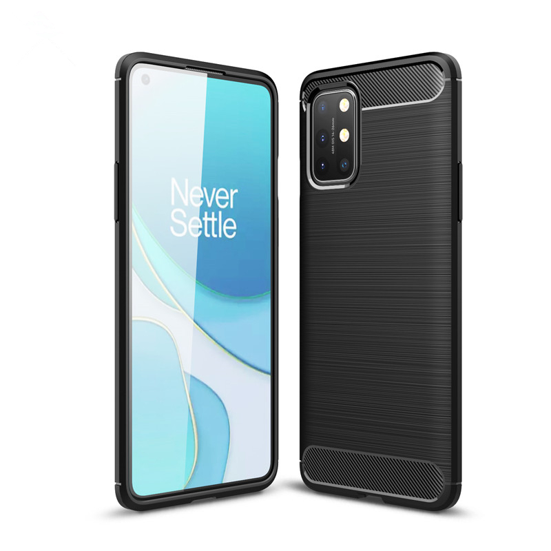 Soft Carbon Fiber Case For Oneplus 8T Case Cover Shockproof Housings Protective Back Phone Bumper For Oneplus 8T Funda Etui