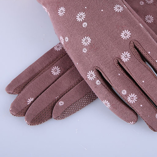 2020 New Fashion Women's Summer Driving Gloves Non-slip Block UV Touch Screen Gloves Cotton Gloves Women Breathable Guantes 3