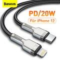 Кабель Baseus PD 20 Вт USB Type-C для iPhone 12 11 Pro Max X Xr Xs 18 Вт, зарядное устройство для быстрой зарядки, USB-кабель для iPad, кабель передачи данных Type-C