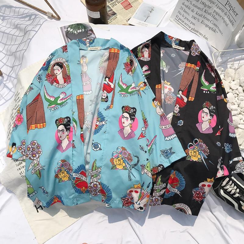 2019 Kimono Japanese Kimono Mujer Pajamas Japan Samurai Kimono Femme Kimono Men Yukata Men Japanese Streetwear Floral Print