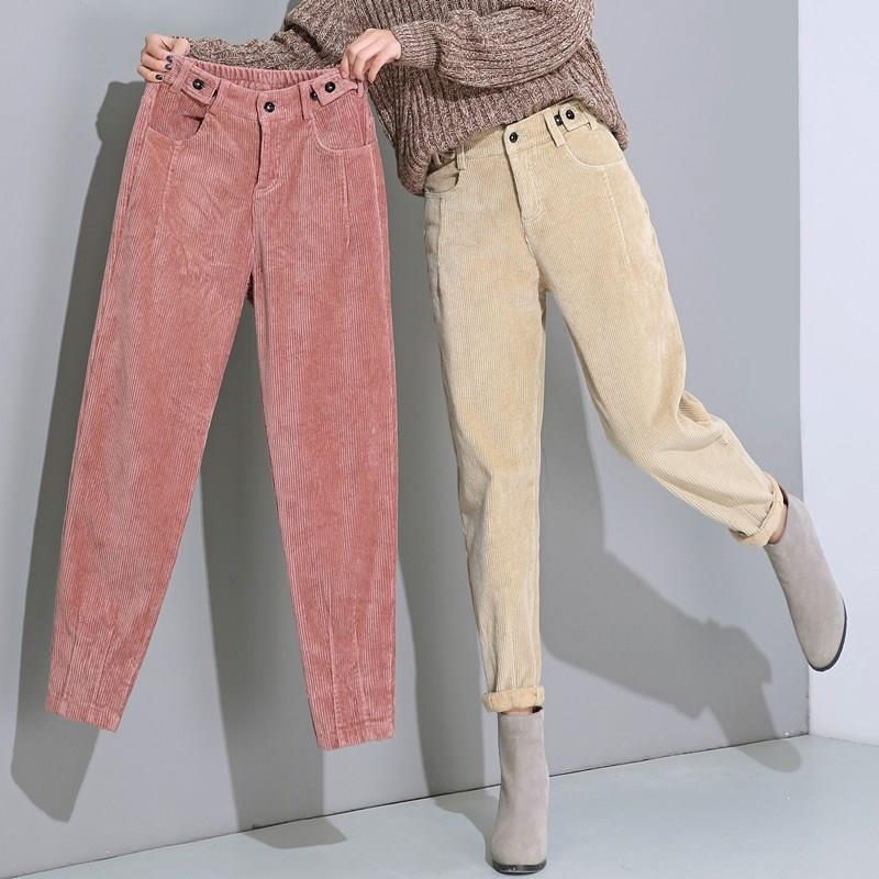 Women Autumn Winter Corduroy Harem Pants Button Plus Size Solid High Waist Pants Casual Plus Velvet Long Trousers