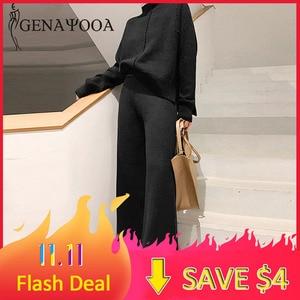 Image 5 - Genayooa Two Piece Set Pullover Sweater Tracksuit Women High Waist Knit Wide Leg Pants Women Suit 2 Piece Set Women Winter 2020