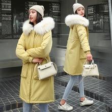 Women long parkas Winter super warm wool liner jackets Minimalist Style solid big fur collar parks coat snow wear