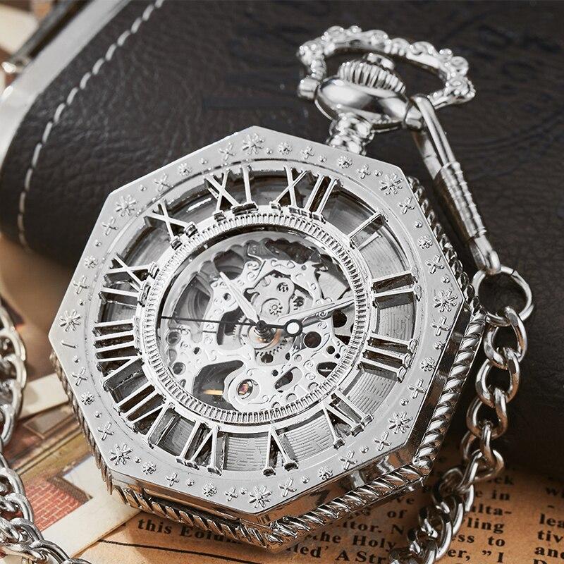 Mechanical Pocket Watch Antique Steampunk Skeleton Roman Numeral Reloj Fob Chain Pendant Hand-winding Men Mechanisch Zakhorloge