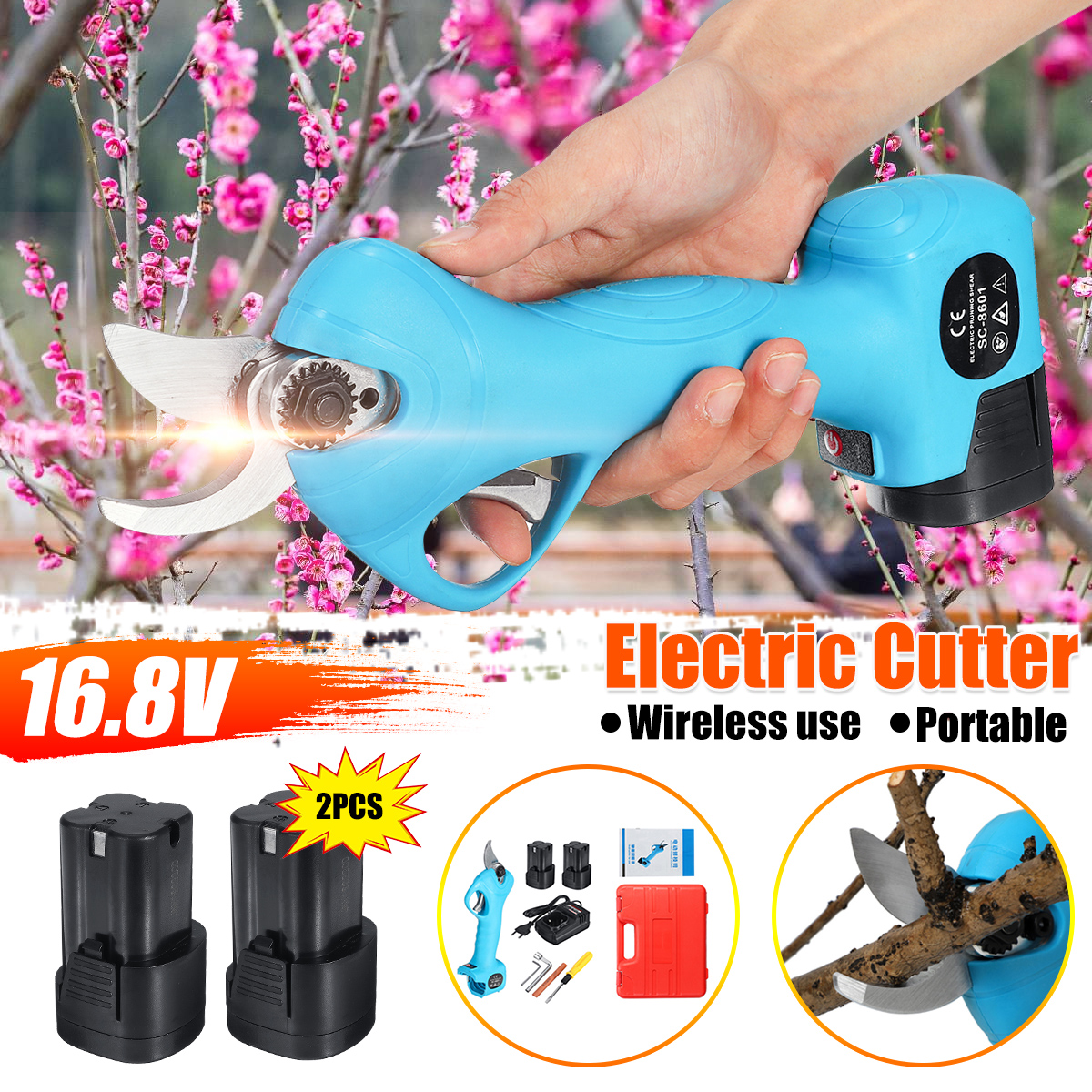 16.8V Li-ion Battery Cordless Secateur Branch Cutter Electric Fruit Pruning Tool Shear To Ol Fruit Power Tools