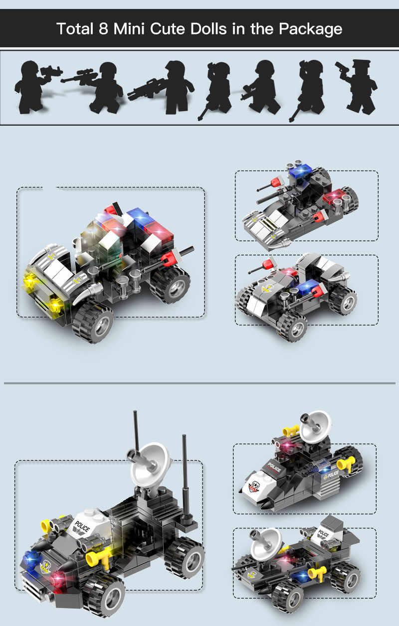 Hipoac 796 Uds. DIY, bloques de construcción para coche de ciudad 27 en 1, bloques de alta tecnología con 8 figuras, juguetes para niños, equipo SWAT, Kits de ladrillos