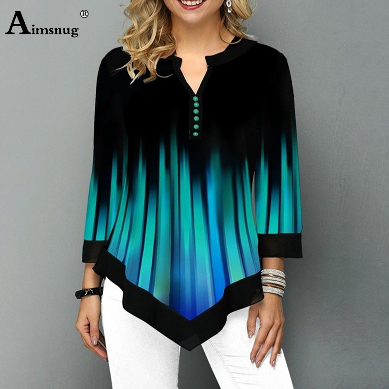 2020 3D Stripe Print Top Women Patchwork Shirt New Summer Seven-quarter Sleeve Button Female T-Shirt Loose Casual Tees Plus Size