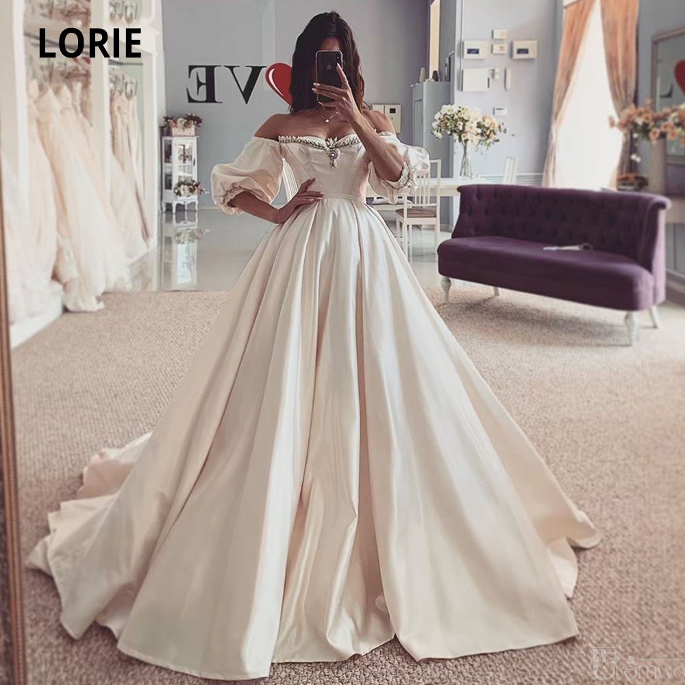 LORIE Satin Wedding Dresses 2020 Off The Shoulder Long Sleeve Back Lacing Bridal Gowns Beach Boho Princess Wedding Party Gowns