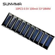 SUNYIMA 10PCS 0.5V 100mA 53*18MM Solar Panel Epoxy Polycrystalline DIY Battery Power Charger Mini Solar Cell 2020 Hot Sale