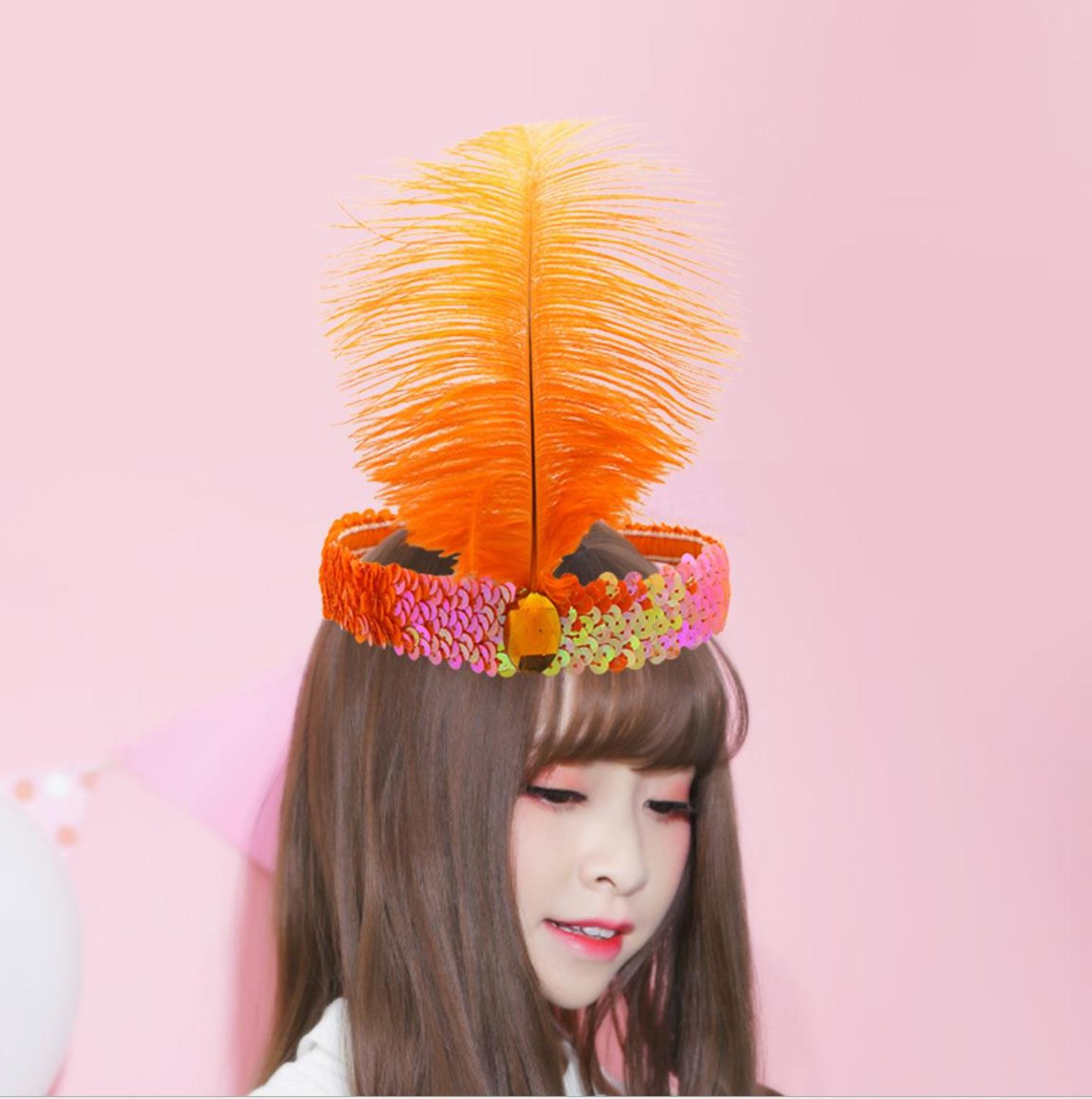 Feather Headband Hair Accessories 2019 Festival Hippie Adjustable Headdress Boho Peacock Feather Hair Band