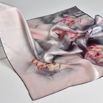 100% Nature Silk Square Neck Scarf  Women Flower Print Small Real Silk Scarf Bandana Hair Scarf 100% Natural Silk Headscarf 100% natural silk square neckerchief for women print bandana real pure silk small scarf headscarf ladies handkerchief 65x65cm