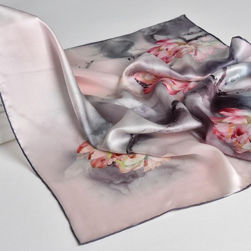 100% Nature Silk Square Neckerchief Women Flower Print Small Real Silk Scarf Bandana Kerchief Natural Silk Headscarf Neck Scarf