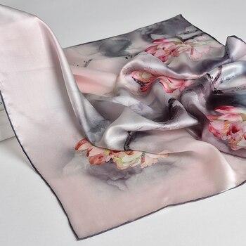 100% Nature Silk Square Neckerchief Women Flower Print Small Real Scarf Bandana Kerchief Natural Headscarf Neck
