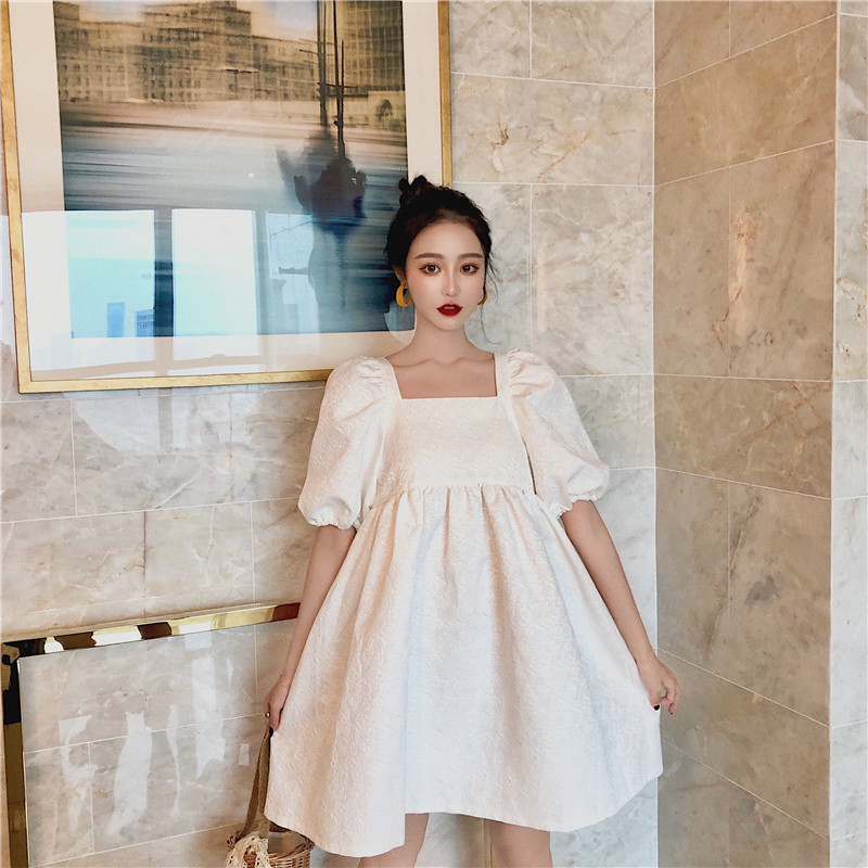 Jacquard Summer Dress Women Puff Sleeve Backless Mini Dress Lace Up Party Dress Elegant Hollow Out White Dress Square Collar