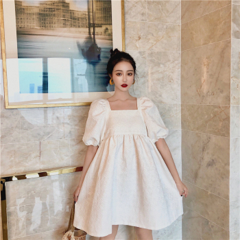Jacquard Summer Dress Women Puff sleeve Backless Mini Dress Lace Up Party Dress Elegant Hollow Out White Dress Square Collar guidecraft dress up cubby center white