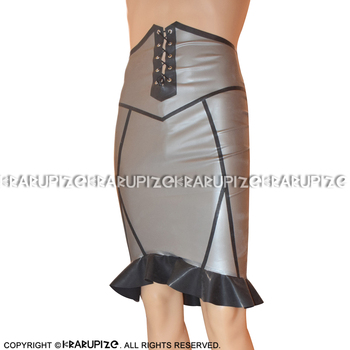 Metallic Silver With Black Sexy Latex Skirts With Ruffles And Lacing At front Zipper At Back Rubber Skirt Bottoms DQ-0030 handmade sleeveless latex one piece dress exotic a line rubber skirt with front zipper