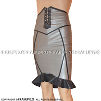 Metallic Silver With Black Sexy Latex Skirts With Ruffles And Lacing At front Zipper At Back Rubber Skirt Bottoms DQ 0030