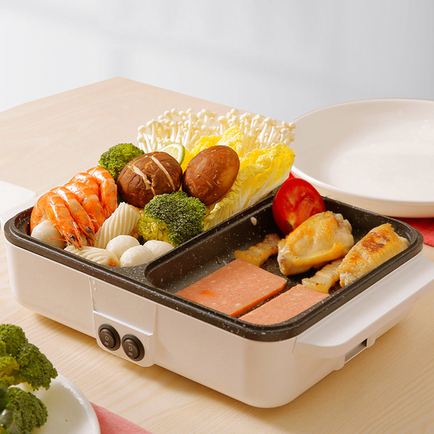 Multi-function Mini Cooking Pot Electric Baking Pan Electric Hot Pot Home Indoor Electric Oven Non-stick Pan Roast One Pot