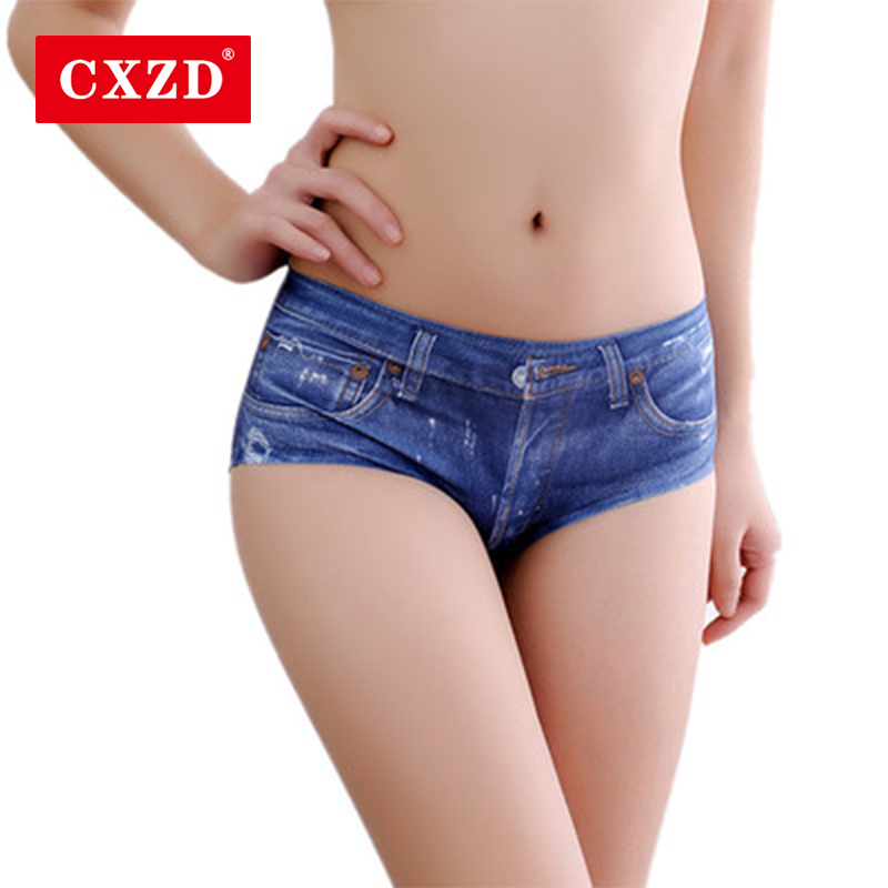 CXZD Women's Sexy Low Waist Elastic Shorts Imitation Printed Denim Mini Short Lady's Fashion Summer Short Capris Blue Jeans