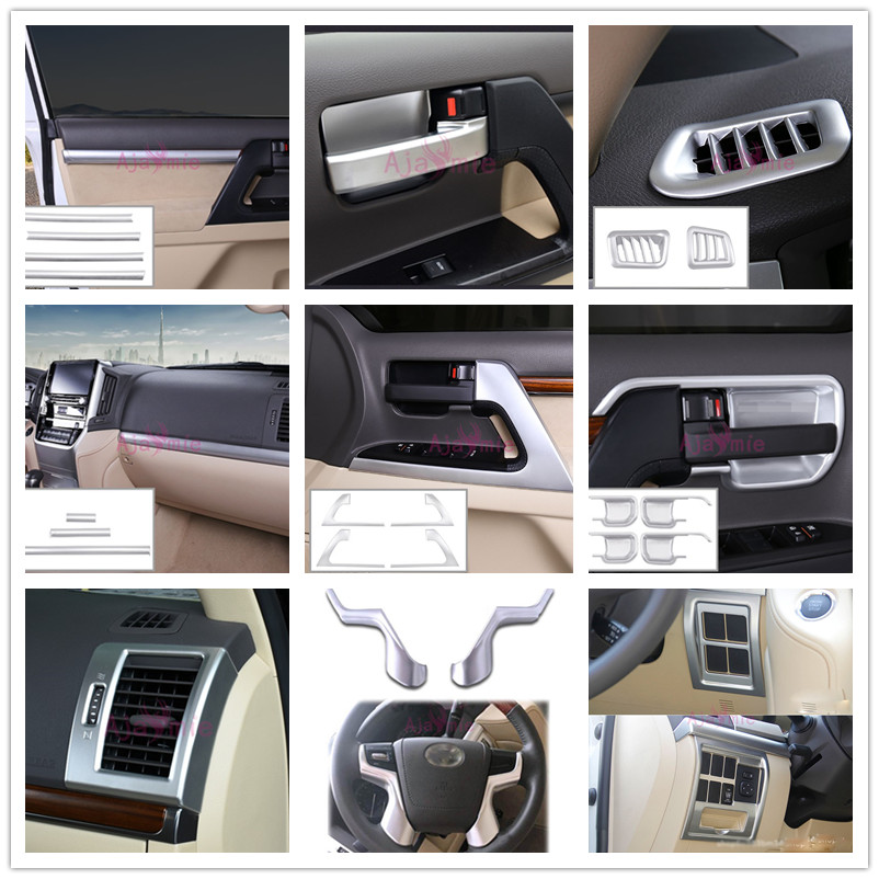 Chrome Car Styling Dashboard Trim Handle Armrest holder Vent Cover 2008 2017 For Toyota LC Land Cruiser 200 Accessories in Chromium Styling from Automobiles Motorcycles