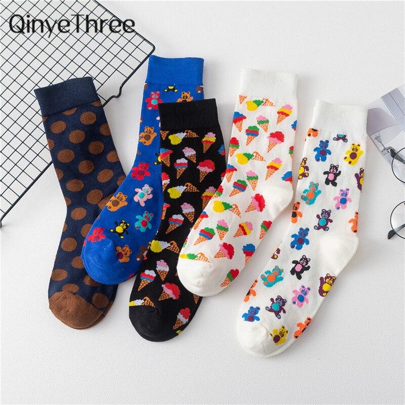New Funny Cartoon Happy Dancing Bear Socks Cute Ice Cream Harakuju Dots Mid Tube Socks Hipster Dropship