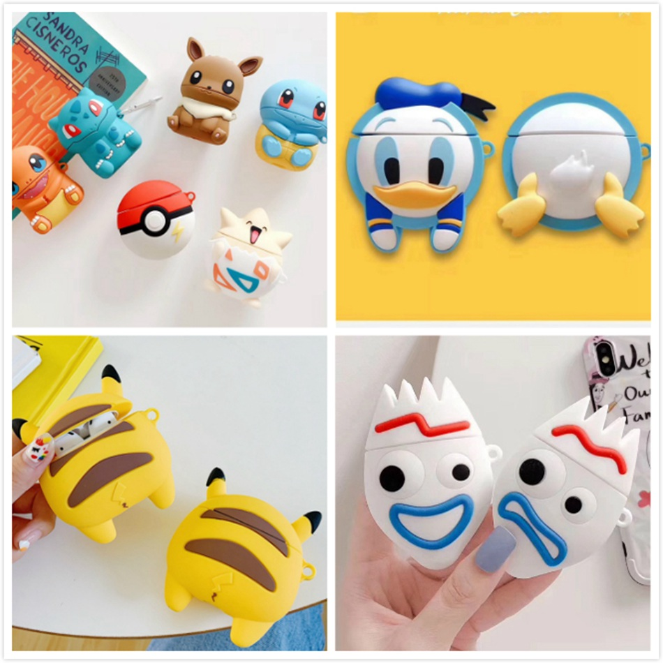 3D Earphone Case For Airpods Case Cartoon Silicone Cute Bear Cover For Apple Air Pods 2 Case For Earpods Case Headphone Strap 1
