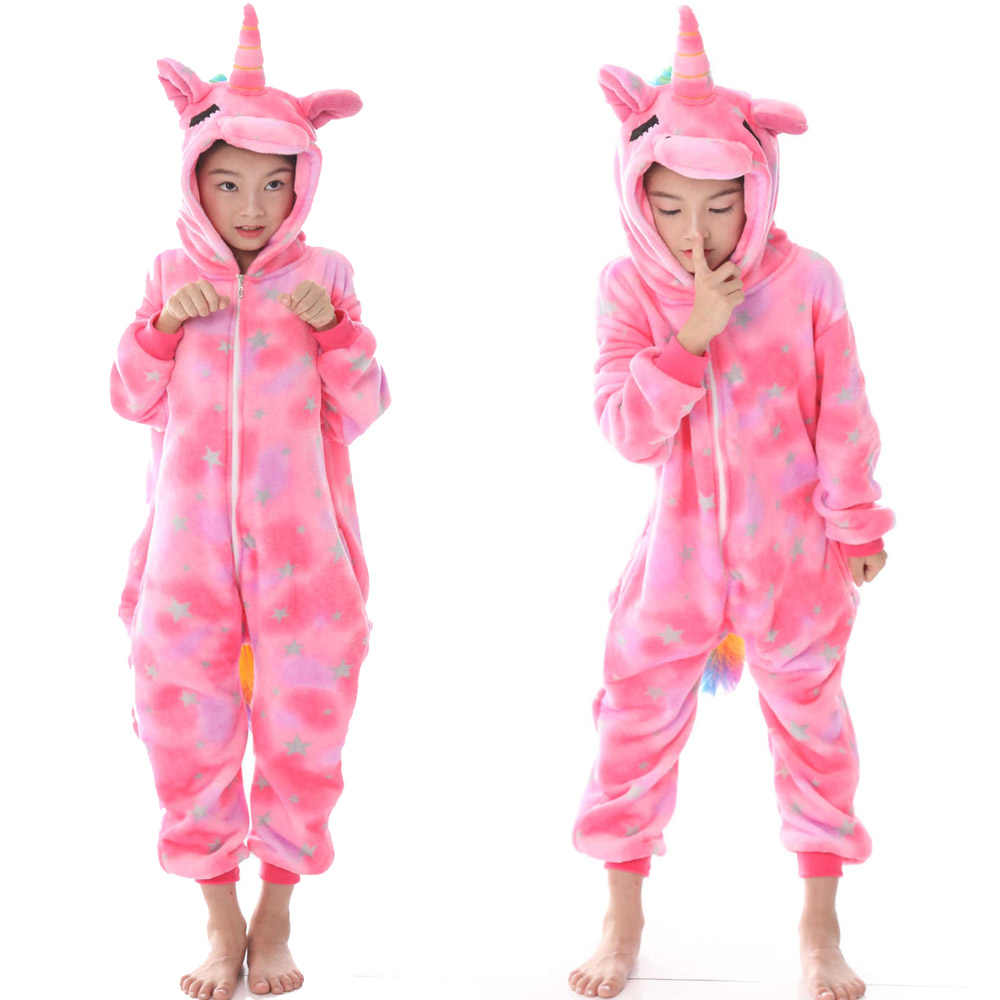 קשת unicorn בנות פיג 'מות Kigurumi פנדה Licorne Unicorn Pijaams ילדים שמיכה רדומה בני תפר קריקטורה בעלי החיים פיג' מה