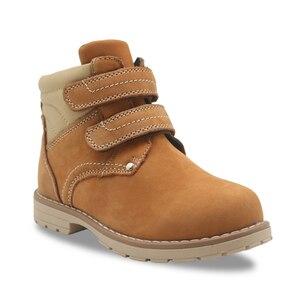 Image 2 - Apakowa filles classique en cuir Martin bottes enfants crochet et boucle mode bottines avec fermeture éclair anti dérapant haut chaussures de marche
