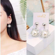 New Korean Style Crystal Pearl Earrings for Women Wedding Party Cute Silver Heart Star Stud Geometric Statement Earings