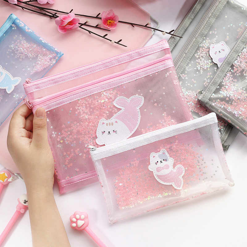 Kawaii Fishtail Cat Pencil Cases Transparent Mesh Cosmetic Bag School Office Student Supplies Pen Pencil Bags