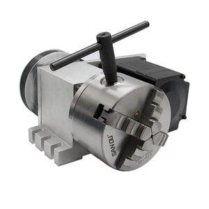 Image 2 - CNC 4th Aixs 3 4 לסת k12 צ אק 100mm Nema 34 מנוע צעד 4:1 / NEMA23 6:1 + זנב המניה עבור נתב