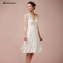 Lakshmigown marfil vestido de boda de talla grande Bohemia boda Vestidos de Nova trowwjurk