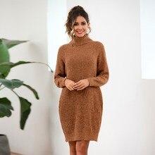 fall 2019 long sleeve turtleneck sweater women pullover knitwear loose oversized pocket dress