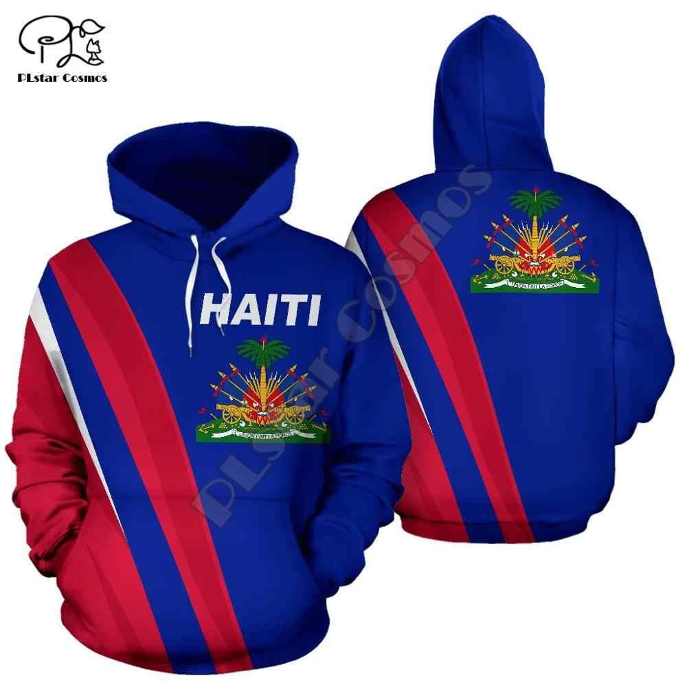 Mężczyźni kobiety Haiti morze karaibskie drukuj 3D bluzy śmieszne flaga kraju bluza moda z kapturem z długim rękawem unisex pulower w stylu harajuku