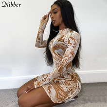 Nibber Retro tribal style printed graphic dress for women street casual wear summer long sleeve mesh bocycon mini dresses female