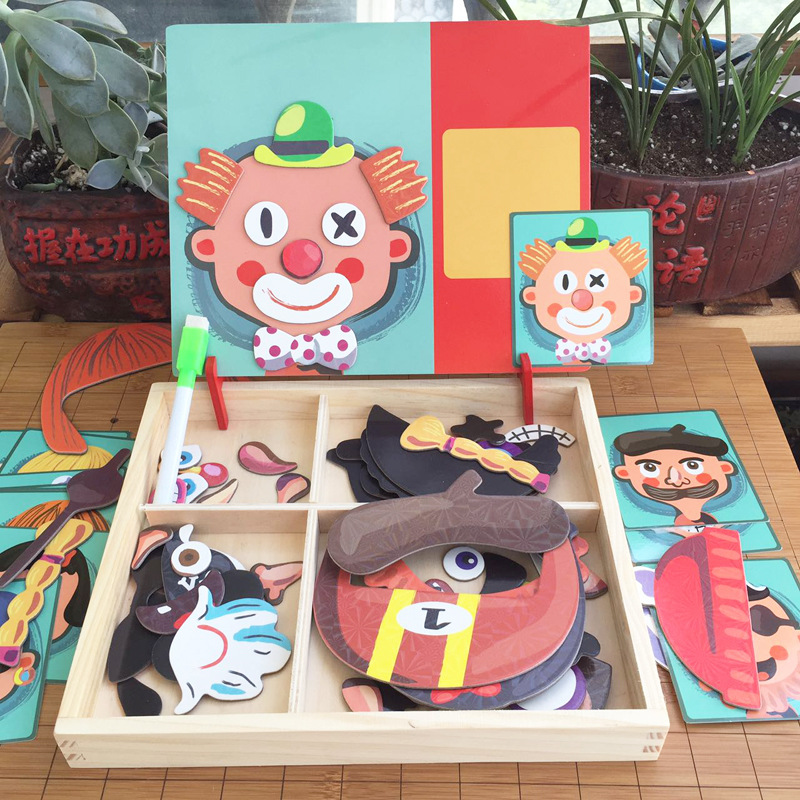 Early Education Magnetic Puzzle Cognitive Pairing Beneficial Intelligence Magnetic Paste Face Features Wooden Toys