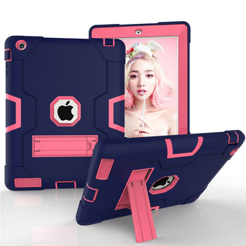 New Armor Case For Ipad 2 3 4 Kids Safe Heavy Duty Silicone Hard Cover Model A1458 A1459 A1460 A1416A1430 A1403 A1395 A1396 Case wes armor dual layer heavy duty protection back kickstand case kids safe cover for apple ipad air 2 for new ipad pro 9 7 inch