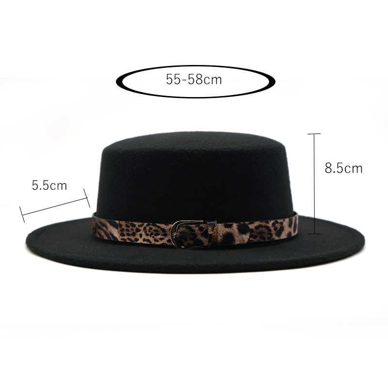 Mujer fieltro sombrero negro imitación lana cinturón con impresión de leopardo invierno sombrero de fieltro para hombre clásico Vintage Bowler señoras lana fieltro sombrero otoño