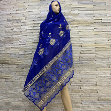 Hot Sales African Women Cotton Scarfs Cotton Splicing Net Scarf Soft Headscarf W