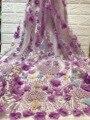 Francês 3d flor tecido de renda africano frisado tecido renda 2020 alta qualidade nigéria malha material do laço para roupas z28761