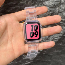 Resina pulseira de relógio para apple watch 6 5 4 banda 42mm 38mm correa aço transparente para iwatch 6 series 5 4 3/2 pulseira 44mm 40mm
