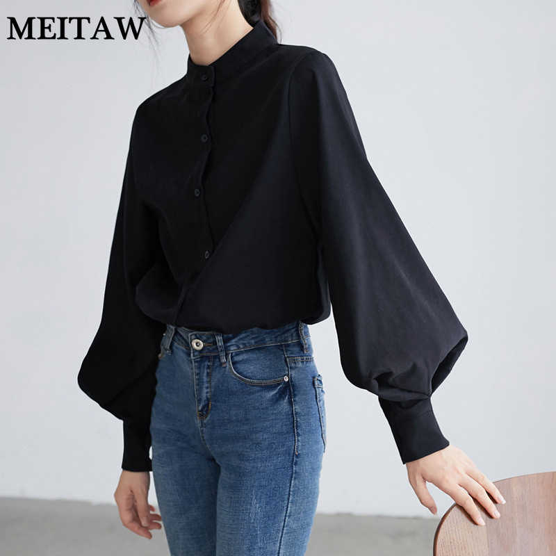 Herfst Winter Wit Shirt Blouse Vintage Grote Lantaarn Mouw Shirts 2020 Casual Solid Loose Blouses Koreaanse Office Tops