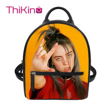 Thikin Billie Eilish Backpack for Girls Lady Mochila Mini Leather Schoolbag Student Preppy Style Travel Bag Girl Satchel