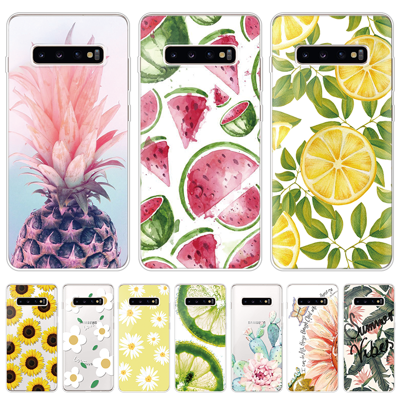 Summer Fruit Lemon Pineapple Case For Samsung Galaxy S20 Ultra S10 S9 S8 Plus S10e Note 10 Plus 9 8 Cover Soft TPU Clear Fundas image
