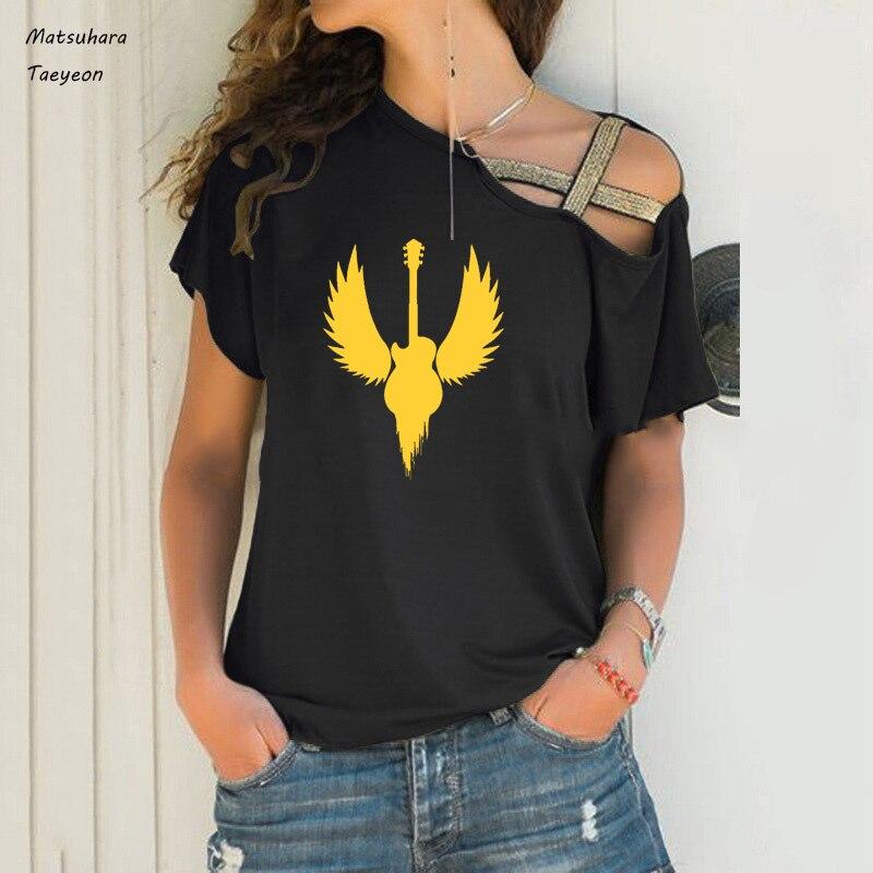 Fashion Fun Guitar Music Hard Rock Metal wing t shirt women Casual Irregular shoulder short Sleeve women clothing tee tops