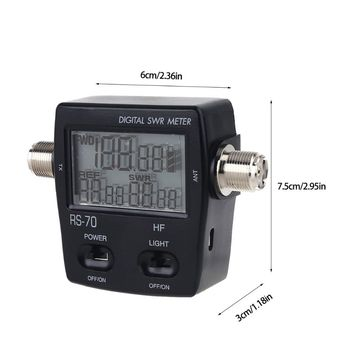 NISSEI RS-70 Digital SWR Power Meter Counter Micro USB-DC 5V Output 1.6-60MHz mini60s 1 60mhz hf swr antenna analyzer meter with bluetooth function
