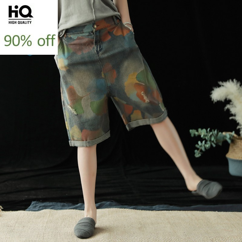 Women Summer Fashion Hole Ripped Camouflage Vintage Denim Shorts Knee Length Back Elastic Waist Loose Casual Female Harem Shorts